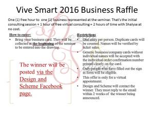 Vive Smart 2016 Business Raffle
